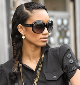 crown area of your head with the first sections of hair braided to